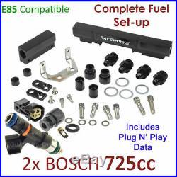 2x New BOSCH 725cc E85 Injectors & Fuel Rail Set-up For Mazda RX7 Turbo FC 1.3L