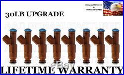 30LB UPGRADE Set Of 8 Fuel Injectors For Corvette Camaro Mustang 5.7L 5.0L 4.6L