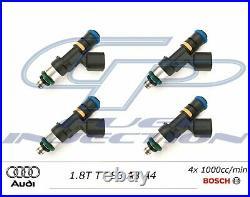 4x 1000cc BOSCH EV14 Fuel Injectors 1.8T TT S3 A3 A4 AUDI USCAR