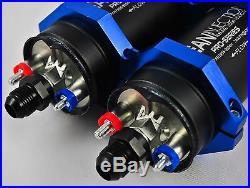 Dual 340LPH inline EFI fuel pump 8an 10an bosch 044 style external -8 e85 inline