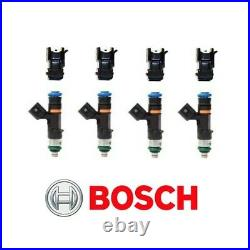 GENUINE Bosch 0280158117 550cc 52lb EV14 Fuel Injectors + Adapters (4)