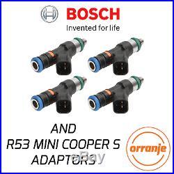 R53 MINI Cooper S ST225 Genuine Bosch 550cc Fuel Injectors Set of 4 + ADAPTORS