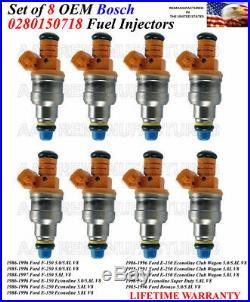 Set of 8 Genuine Bosch Fuel Injectors For 1986-1996 Ford F-150 5.0L/5.8L V8