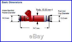 Siemens Deka V 80lb/hr Fuel Injectors EV1 Bosch Short 48mm FI114700 Set (4)